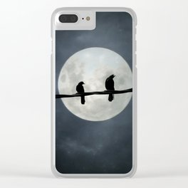 Two Crows In The Light Of A Silvery Moon Clear iPhone Case