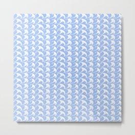 Ocean Waves Pattern No.1 on Pastel Blue Metal Print