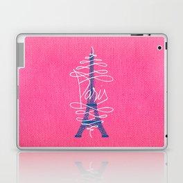 Girly Eiffel Tower Pink Whimsical Paris Typography Laptop & iPad Skin