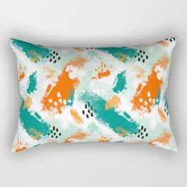 Grunge Brush Strokes in Orange + Teal Rectangular Pillow