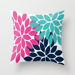 Bold Colorful Hot Pink Turquoise Navy Dahlia Flower Burst Petals Throw Pillow