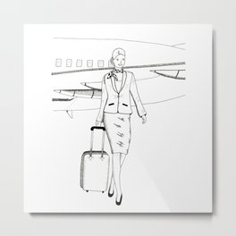 Flight attendant Metal Print