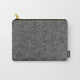Modern Farmhouse Gray Damask Print Flower Vine on Weathered Background Carry-All Pouch
