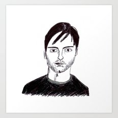 Biro Drawing of Tobey Maguire Art Print