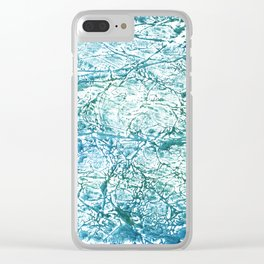Green blue marble watercolor Clear iPhone Case