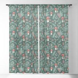 Cottagecore Yule Nature Pattern Green Sheer Curtain