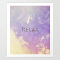 relax Art Prints featuring Relax by Rachel Burbee