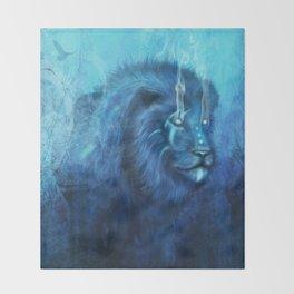 Blue Spirit Lion Throw Blanket