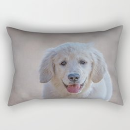 Young Golden Retriever breed dog with light fur stares into your eyes Rectangular Pillow