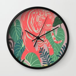 Aloha Tiger, Tiger print, Animal print, jungle print Wall Clock
