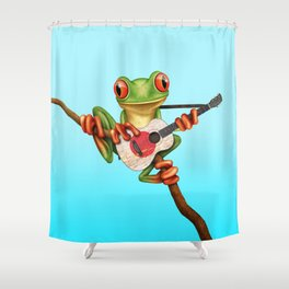 Tree Frog Playing Acoustic Guitar with Flag of Japan Shower Curtain