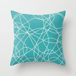 Alabaster White Scribbled Lines Abstract Hand Drawn Mosaic on Aqua Teal Turquoise - Aquarium SW 6767 Throw Pillow