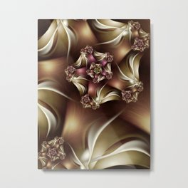 Abiding Fractal Spiral in Brown, White and Pink Metal Print