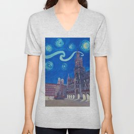 Starry Night In Munich - Van Gogh Inspirations with Church of Our Lady and City Hall Unisex V-Neck