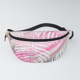 Tropical blush pink mint green white watercolor palm tree Fanny Pack