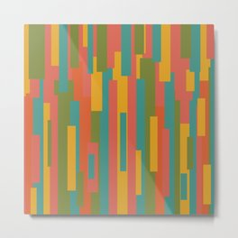Festiva Mid Mod Geometric Pattern in Coral Pink, Teal Blue, Mustard, Orange, and Olive Green Metal Print