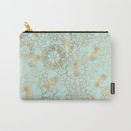Modern teal faux gold pineapple floral illustration Carry-All Pouch