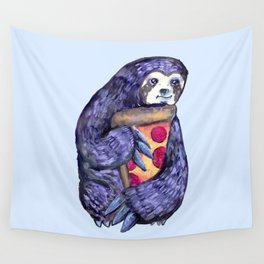 purple sloth loves pizza Wall Tapestry