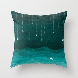 Falling stars, sailboat, teal, ocean Throw Pillow