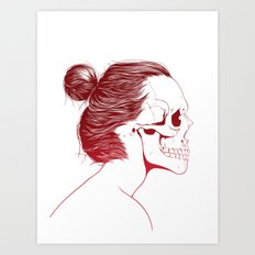 Skull Girls 2 - Crimson Maroon Art Print