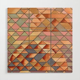Triangles Circles Golden Sun Wood Wall Art