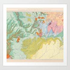 Southwest Map - Pastel Art Print