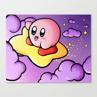 kirby Canvas Prints featuring Kirby by Jelly Soup Studios