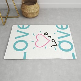 Love - Blue Typography and Pink Heart Shape Art  Rug
