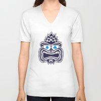 tiki V-neck T-shirts featuring Tiki by Lorenzo Pinna