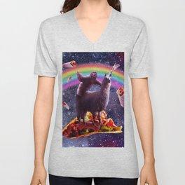 Space Sloth Riding Llama Unicorn - Taco & Burrito Unisex V-Neck