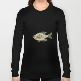 Crappie Fish Side Drawing Long Sleeve T-shirt
