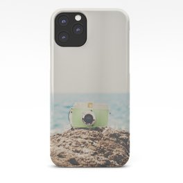 "the ""dreamer"", a mint green camera with the ocean behind it iPhone Case"