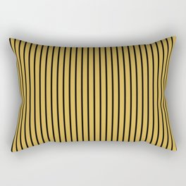 Spicy Mustard and Black Stripes Rectangular Pillow