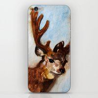 reindeer iPhone & iPod Skins featuring Reindeer  by Woolpecula