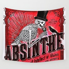 Vintage 1871 Red Absinthe Liquor Skeleton Elixir Aperitif Cocktail Alcohol Advertisement Poster Wall Tapestry