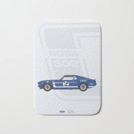 Minimal poster Mustang Boss302 Blue Bath Mat