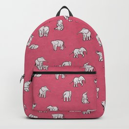 Indian Baby Elephants in Pink Backpack