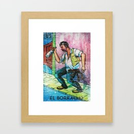 El Borracho Mexican Loteria Bingo Card Framed Art Print