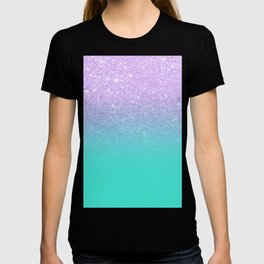 Modern mermaid lavender glitter turquoise ombre pattern T-shirt