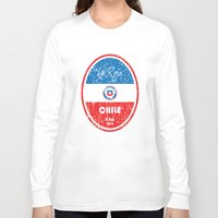 chile Long Sleeve T-shirts featuring World Cup Football - Chile (Distressed) by Made of Thoughts
