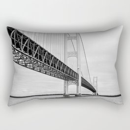 Mackinac Bridge, black and white photography Rectangular Pillow