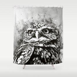 owl portrait 5 wsbw Shower Curtain