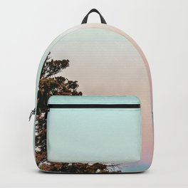 Rainbow Color Sunset // Incredible Clear Sky Photograph Through the Forest Trees Backpack