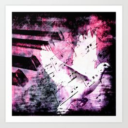 Pink Musical Dove Art Print