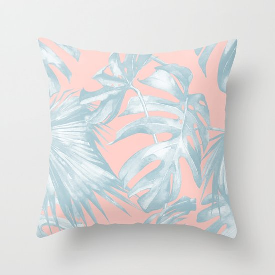 island love pale teal blue on millennial pink throw pillow by simple luxe society6. Black Bedroom Furniture Sets. Home Design Ideas