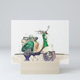 1956 Innocenti Lambretta 2 watercolor by Ahmet Asar Mini Art Print