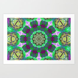 Overdose Of Green Neon Kaleidoscope Art Print