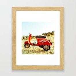 Red Scooter Framed Art Print