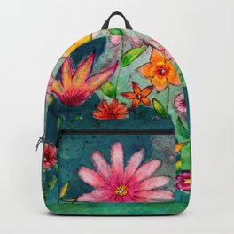 Wild flowers watercolor painting whimsical art Backpack