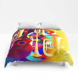 Colorful music instruments with guitar, trumpet, musical notes, bass clef and abstract decor Comforters